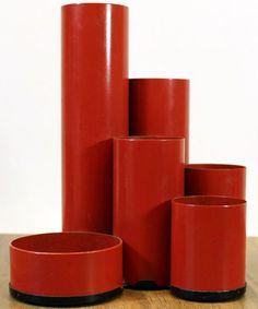Pot à Crayon 'Tuyaux' - Métal Laqué Rouge - Deyhle - 1970