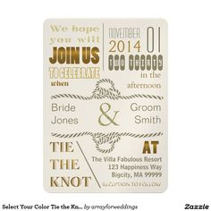 Select Your Color Tie the Knot TTKA 5x7 Paper Invitation Card