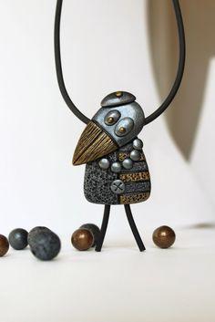 Polymer Clay Pendant Jewelry Bird Raven Crow Animals Silver Gold | WildOnionArt -  on ArtFire