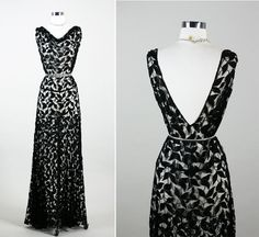 1930s 30s DECADENT Art DECO Illusion Bias by RedHouseVintages, Lace--would need slip underneath