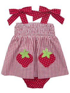 e229956bb25 Rare Editions Toddler Girls Red Strawberry Seersucker Summer Dress New in  Clothing