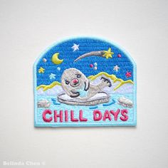 Baby Seal Chill Days Iron On Patches by BelsArt on Etsy https://www.etsy.com/listing/267659443/baby-seal-chill-days-iron-on-patches