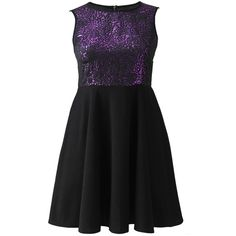 Simply Be Metallic Purple Skater Dress (560010 BYR) ❤ liked on Polyvore
