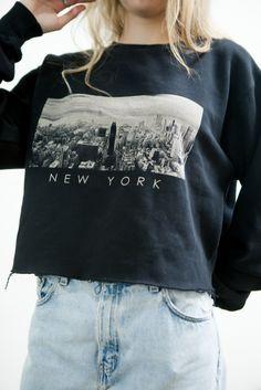 Brandy ♥ Melville   Nancy New York Cropped Sweatshirt - Graphics