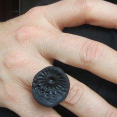 black chrysanthemum flower texture polymer clay by bbppdesigns, $10.00