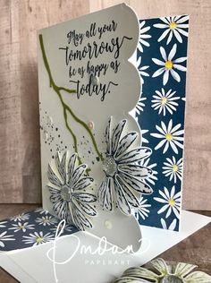 "Navy and white is such a classic color combination and when I saw the designs in the new Delightful Daisy Designer Series Paper there was an ""a-ha"" moment for m"
