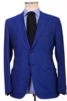 KITON Napoli Hand Made Royal Blue Striped Plaid Wool Suit EU 42 NEW EU 52
