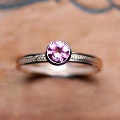 14k pink tourmaline ring  rose gold  alternative by metalicious, $486.00