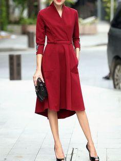 Fashion : Fashion Embroidered Midi Dress - Burgundy - V-neck - 3 4 sleeve - XhNx Fashion Mode, Work Fashion, Womens Fashion, High Fashion, Style Work, My Style, Pretty Dresses, Beautiful Dresses, Dress Skirt