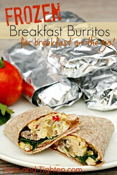 Frozen Breakfast Burritos on Tone-and-Tighten.com- these make enough to last all week long!