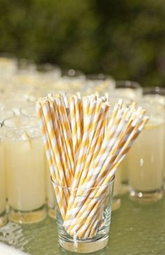 Modern Chic Yellow, Grey Chevron Wedding In Palm Springs (chevron spring modern yellow palm heather kincaid) - Lover. Yellow Wedding, Wedding Colors, Cocktails Bar, Drinks, Yellow Foods, Bridal Musings, Grey Chevron, Signature Cocktail, Paper Straws