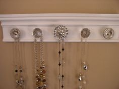 This jewelry organizer wall hanging features rhinestone center 5 decorative knobs total inches long on Etsy, € Jewelry Wall, Jewelry Organizer Wall, Jewelry Hanger, Jewellery Storage, Jewelry Organization, Home Organization, Etsy Jewelry, Organizing, Cabinet Decor