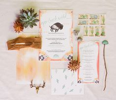 Bohemian watercolor invitation suite inspired by the Old West