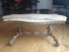 Antique French Marble Top Gilt Brass Coffee Table