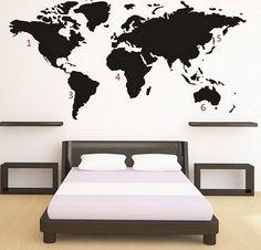 World Map Muursticker - Zwart Kerstkado & kerstcadeau Webshop: Kerst kado's & cadeaus. Wall Stickers World Map, World Map Wall, Sticker Auto, Black Packaging, Design3000, Shops, Entertainment, Gadget Gifts, Beautiful Wall
