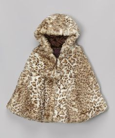 Another great find on #zulily! Snow Leopard Faux Fur Poncho - Infant, Toddler & Girls by Lilly Patricia #zulilyfinds