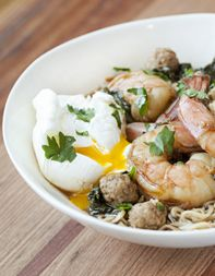 Mama Ramen Shrimp Soup with Mini Pork Meatballs as adapted from Andy Ricker by tastingtable #Soup #Ramen #Shrimp #Meatballs