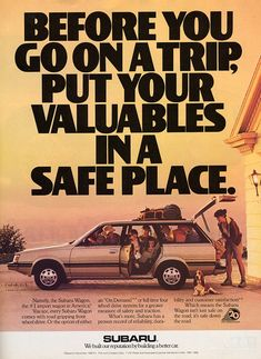 "Vintage Subaru Ad (c.1988) - ""We built our reputation by building a better car"""