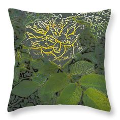 All Throw Pillows - Stenciled Rose Throw Pillow by Lovina Wright