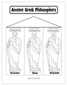 Ancient Greek Philosophers printable - to learn about Socrates Plato and Aristotle. Also has videos about each one to help you learn about them. Greek History, Ancient History, European History, American History, Ancient Rome, Ancient Greece, Ancient Aliens, Greece Art, History Activities