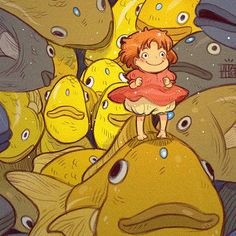 Ponyo Fanart on Behance Fanarts Anime, Anime Manga, Anime Art, Studio Ghibli Art, Studio Ghibli Movies, Hayao Miyazaki, Totoro, Animation, Cute Art