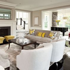 White, greys and yellow, very popular and serene.  Living Room Design, Pictures, Remodel, Decor and Ideas - page 5