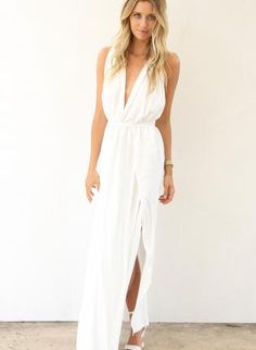 Barbecue Wedding Rehearsal Dinner Dress. White Longer Lengths Dress - White Maxi Dress with Plunge