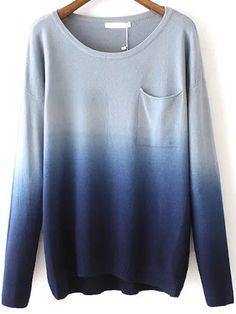 Navy Dip Hem Ombre Pocket Sweater 24.67