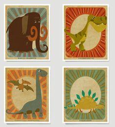 Dinosaur Art Collection, Boys Room Art - 8x10