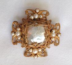Vintage Signed Miriam Haskell Baroque Pearl Maltese Cross Filigree Brooch #MiriamHaskell on Ebay
