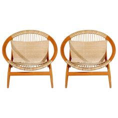 Pair of 'Ringstol' Chairs by Illum Wikkelso, Denmark 1960's.  Beech Easy Chairs w/Seat & Back of Woven Cane, Model 23
