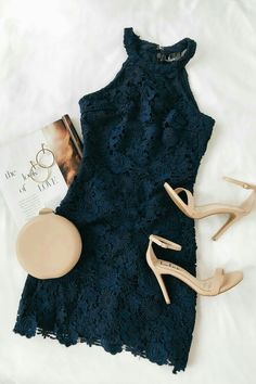 Collect love notes from secret admirers right and left in the Lulus Love Poem Navy Blue Lace Mini Dress! Hoco Dresses, Pretty Dresses, Homecoming Dresses, Casual Dresses, Navy Blue Homecoming Dress, Evening Dresses, Blue Dress Casual, Mode Outfits, Fashion Outfits