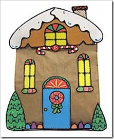 Brown paper bag gingerbread house. Links to template, kids just colour and cut out.