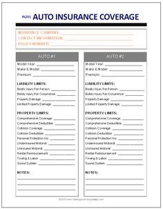 use this insurance record form to keep track of all your