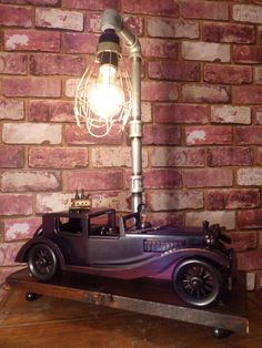 ROADSTER LAMP -  Steampunk Pipe lamp - PROHIBITION Lamp- Vintage Roadster Lamp by JusFunkinAround on Etsy Roadster, Hooch, Steampunk Lamp, Pipe Lamp, Vintage Lamps, Cool Stuff, Shop, Model, Etsy