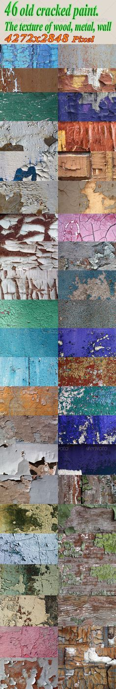 Old paint textures. Come in different colors and on a variety of surfaces (wood, steel, clay, plaster, concrete). A set of 46 file
