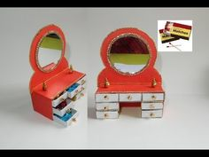 This video will show the step by step procedure of dressing table making from match boxes. This is the perfect gift for your. Pop Stick Craft, Popsicle Stick Art, Craft Stick Crafts, Doll Furniture, Dollhouse Furniture, Jewellery Box Making, Diy Jewellery, Ganesh Chaturthi Decoration, Art Drawings For Kids
