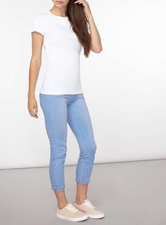 Womens **Tall White Cotton T-Shirt- White