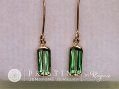 Tourmaline Dangle Earrings in Yellow Gold Bar by PristineJewelry