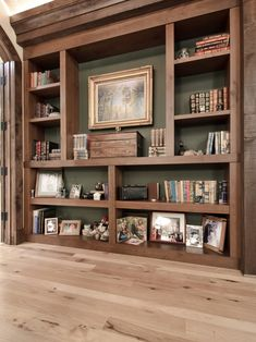 Built In Bookcase Design, Pictures, Remodel, Decor and Ideas - page 3 Wooden Wall Shelves, Wall Bookshelves, Built In Bookcase, Bookshelf Ideas, Rustic Shelving, Rustic Bookshelf, Book Shelves, Paint Bookshelf, Painted Bookcases