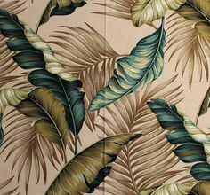 11 tropical leaf print barkcloth fabrics in 31 colorways - Retro Renovation Tropical Leaves, Tropical Plants, Textures Patterns, Print Patterns, Retro Renovation, Illustration, Tropical Pattern, Leaf Art, Vintage Prints