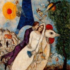 Marc Chagall--the betrothed and eiffel tower 1913.   the chicken!, the colors!