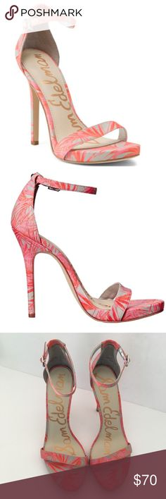 Sam Edelman Eleanor Strap Heels 11 Stilleto Pink This listing is for a pair of gorgeous women's stiletto heels by Sam Edelman. They are the Eleanor style and feature a pink palm print. Size 11 M.  Embossed leather upper. Ankle strap with buckle closure. Open toe. Man-made lining and footbed. Wrapped heel. Man-made outsole. Imported. Product measurements were taken using size 9, width M. Please note that measurements may vary by size. Measurements: Heel Height: 4 3⁄4 in Weight: 11 oz Platform…