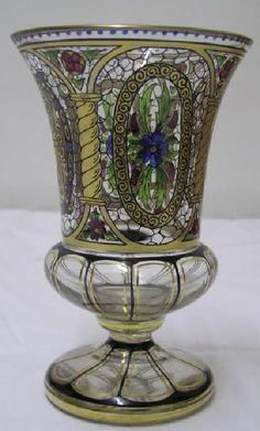 Signierte Jugendstil Glas Vase, Haida / Steinschönau