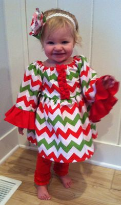 Christmas Chevron Peasant Dress! Beautiful red , green, and white chevron with ruffles! Perfect for Christmas!