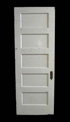 White painted right swing oak passage door with five horizontal panels. The door is a dark wood tone on the opposite side. The […]