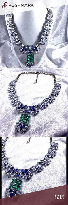 """Long Crystal Glam Statement Necklace Beautiful long statement necklace with clear faceted crystals with blue and green accent crystals. 22"""" long adjustable with 3"""" drop. Vintage retro glam. High end costume jewelry. Save the most with bundles. I offer 25% off on bundles of 2+ items. I accept reasonable offers. No trades. I only do business on Poshmark. Boutique Jewelry Necklaces"""