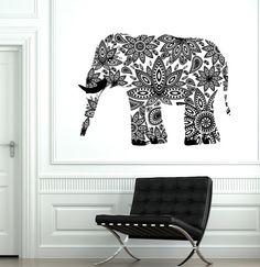 Wall Decal Elephant Indian Animal Cool Ornament Mural by BoldArtsy