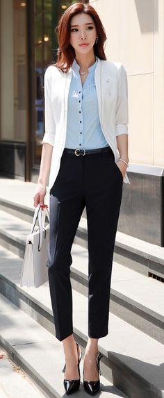 StyleOnme_Straight Leg Pants #navy #dresspants #slacks #koreanfashion #workwear #kstyle #chic #kfashion #seoul