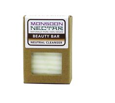 Monsoon Nectar Beauty Bar Neutral Cleanser: Sensitive Skin/Babies. Gentle, Daily, No Aroma Face Wash / Shampoo Bar. 100% natural, vegan, solid. NO aroma. Alternate size: Beauty Bar In A Jar. Facial Brush and Tray Sold Separately. Builds elastin in skin / antiwrinkle / smoothes stretch marks / promotes healing / softens. Hand poured, hand cut, Beauty Bar is also a mask: leave on at least 30 seconds. Gentle for babies / sensitive skin. Soothing to dry skin / shampoo bar promotes healthy…